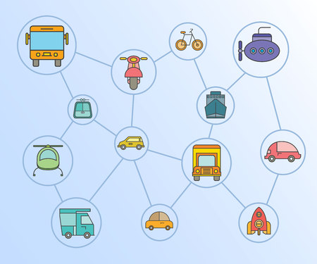 transportation icons network diagram in blue background