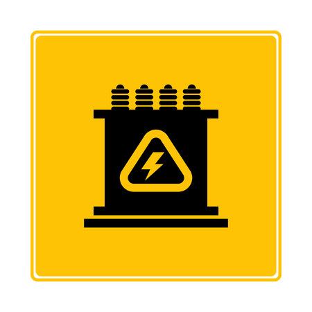 symbole du transformateur sur fond jaune