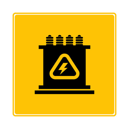 transformer symbol in yellow background
