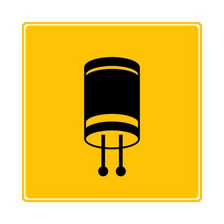 capacitor symbol in yellow background Иллюстрация