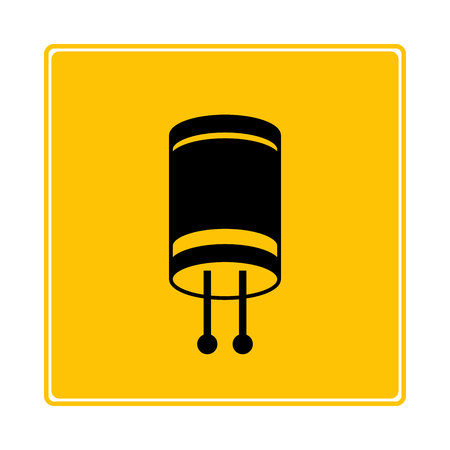 capacitor symbol in yellow background Illustration