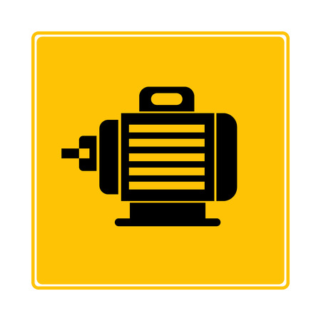 electric motor symbol in yellow background