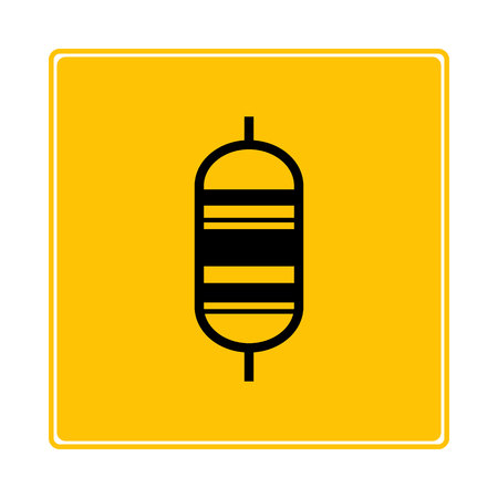 resistor symbol in yellow background