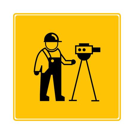 surveyor symbol in yellow background