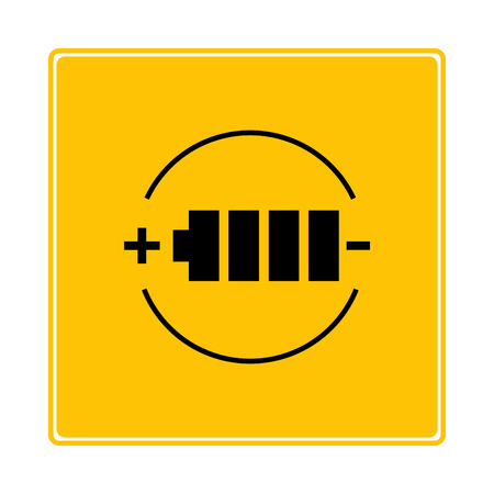 battery symbol in yellow background
