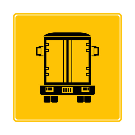 cargo truck symbol in yellow background