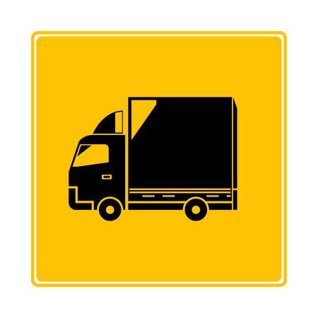 cargo truck symbol in yellow background