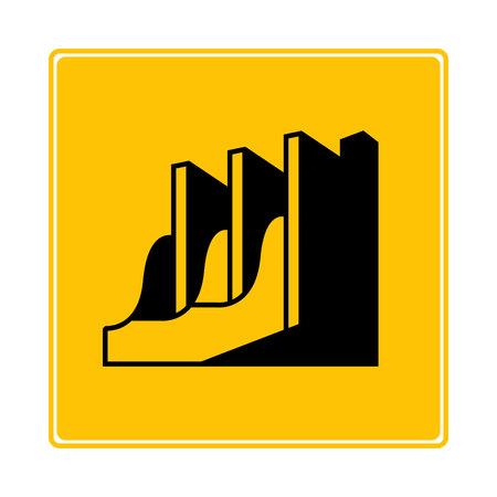 dam, hydro electric symbol in yellow background