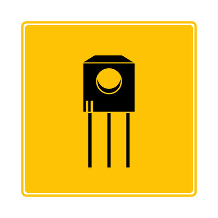 transistor symbol in yellow background