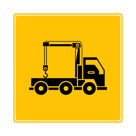crane truck symbol in yellow background