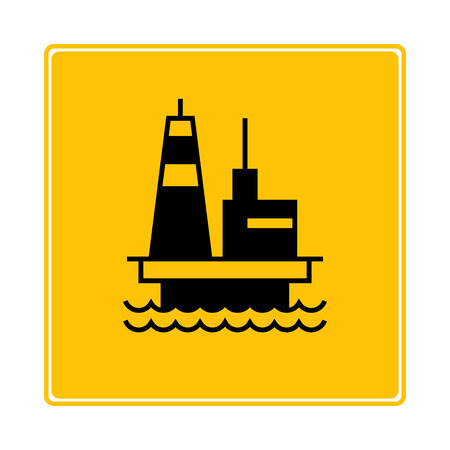offshore oil platform symbol in yellow background
