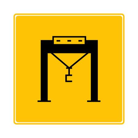 crane port symbol in yellow background