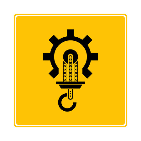hoisting crane icon in yellow background