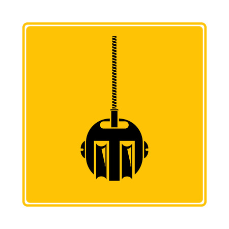 hoisting crane icon in yellow background Banque d'images - 119178992