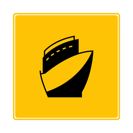 cruise ship symbol in yellow background