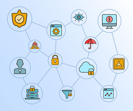 internet security and network security diagram in blue background