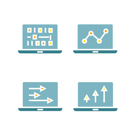 graph and chart data in laptop icons