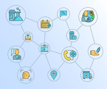 medical concept network diagram in blue background