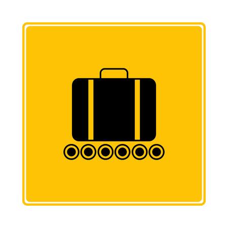 baggage claim on yellow background Çizim