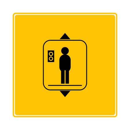 escalator, elevator symbol on yellow background Ilustrace