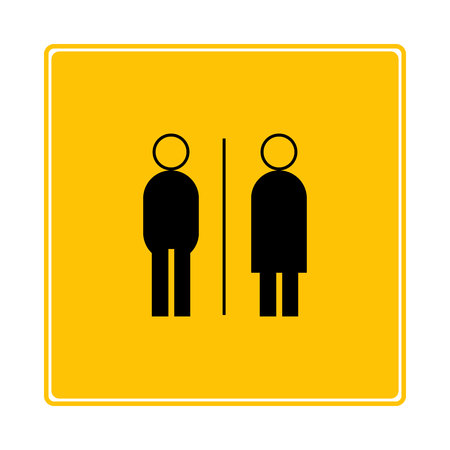 toilet symbol on yellow background
