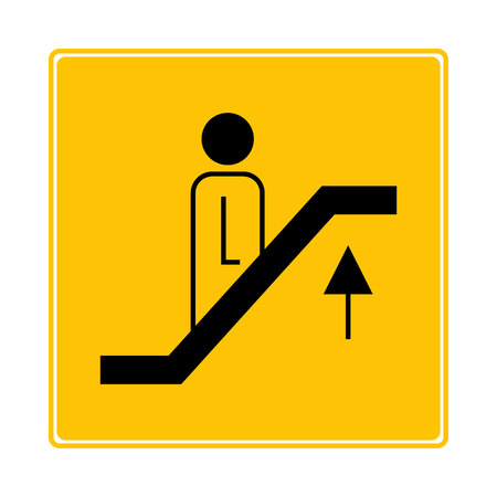 escalator, elevator symbol on yellow background Ilustração