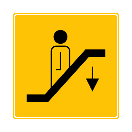escalator, elevator symbol on yellow background  イラスト・ベクター素材