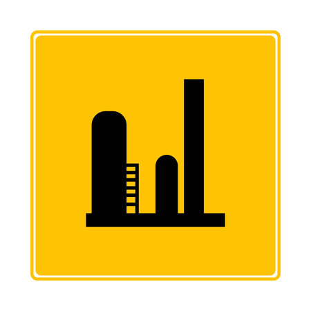industrial tank, factory on yellow background