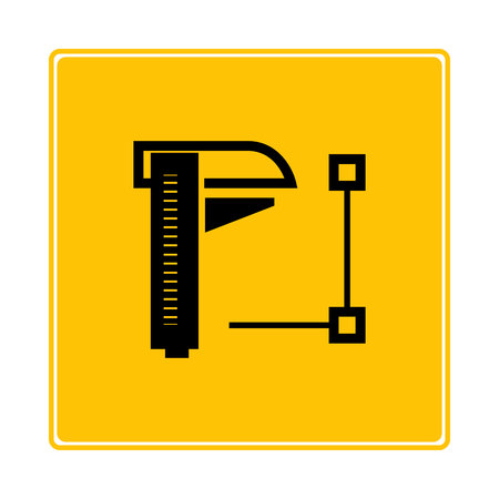 caliper instrument on yellow background