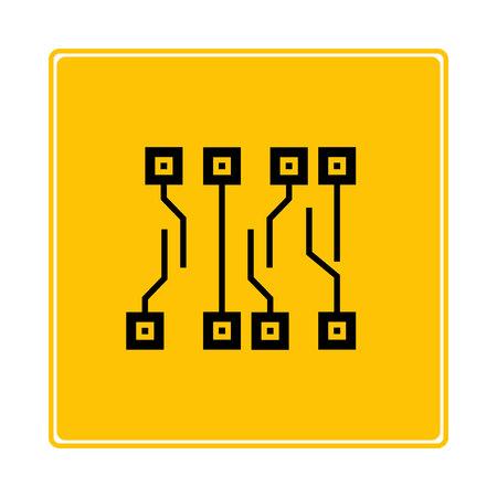 circuit board on yellow background 向量圖像
