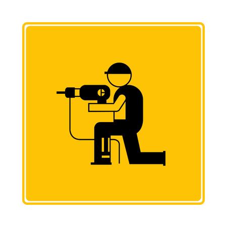 worker using driller icon in yellow background