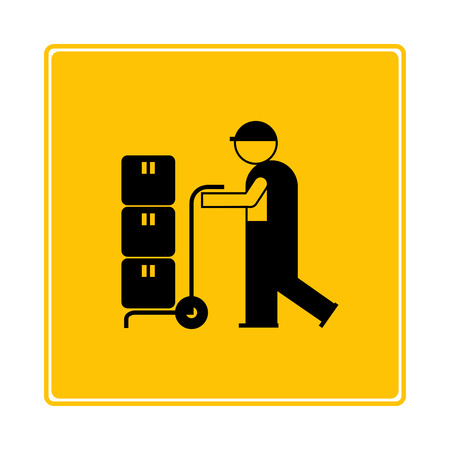 worker delivery product on yellow background