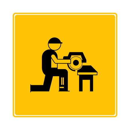worker,  mechanic, carpenter using drilling machine icon in yellow background