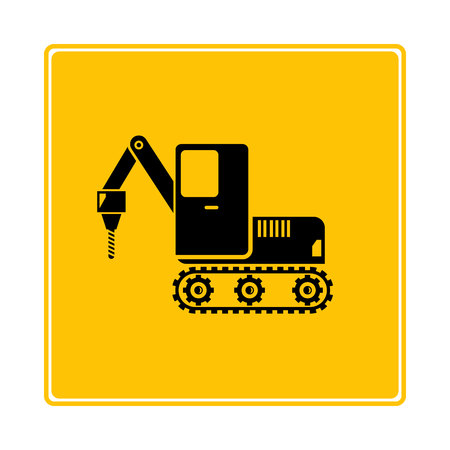 driller truck icon in yellow background 일러스트