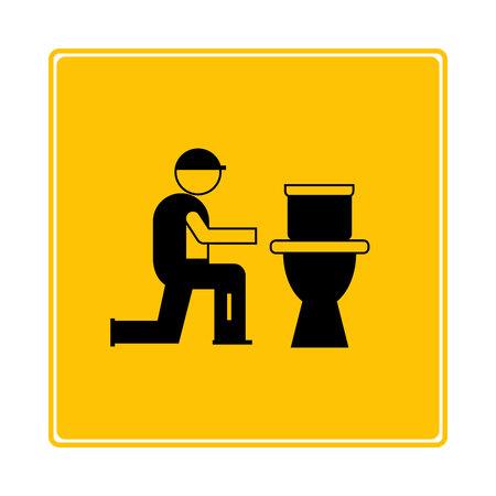 plumbing service icon in yellow background Ilustração