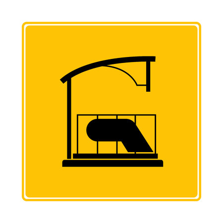 subway station icon in yellow background