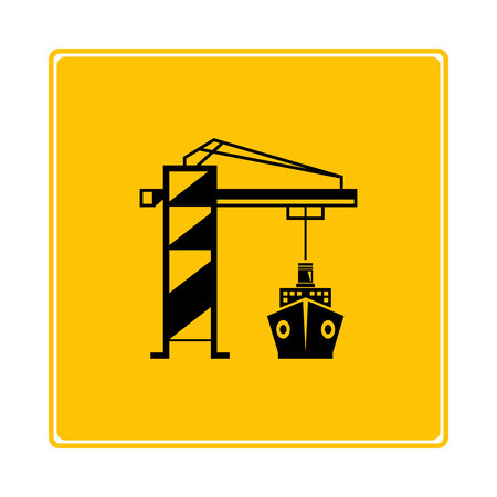 crane port and ship icon in yellow background Stock Vector - 117793583