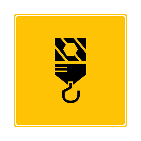 hoisting crane icon in yellow background Banque d'images - 119304475