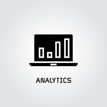 bar chart analytics in laptop icon Ilustração