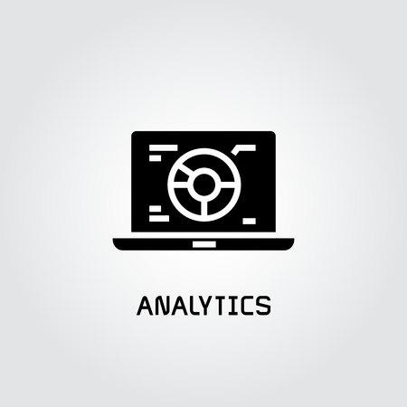 pie chart analytics in laptop icon Ilustração
