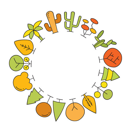 colorful spring and autumn tree border blank circle shape for text, ecology concept