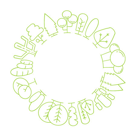 tree and plant border blank circle shape for text, ecology concept