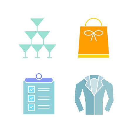 shopping bag, wine glass and clipboard icons Ilustrace