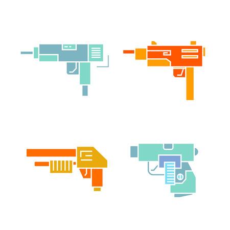 machine gun and weapon icons set