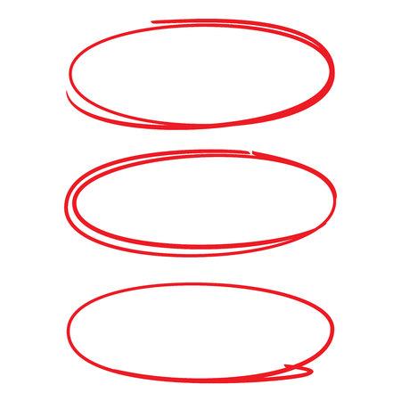 cercle ovale dessiné à la main rouge pour marquer certains textes