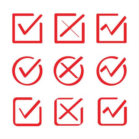 red hand drawn check box, check list