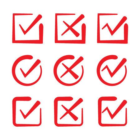 marcas de verificación dibujadas a mano roja