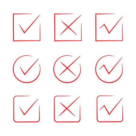 red hand drawn check marks