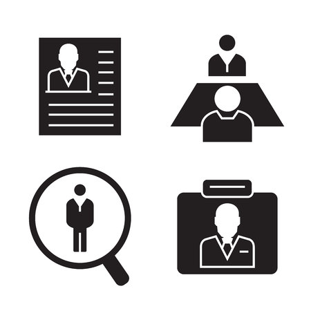 human resource and recruitment icons 일러스트