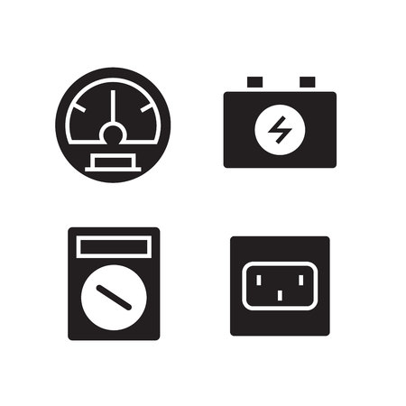 electronic tool and device icons set Illustration